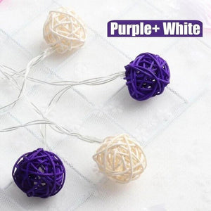 purple rattan ball string lights