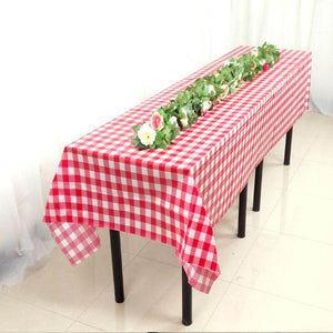 Red Plaid Plastic Tablecloth