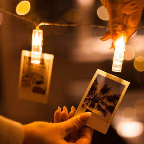 Rustic Farmhouse String Lights with Photo Clips