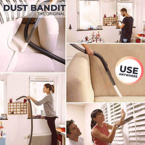 The Dust Bandit will help you get rid of dust in places you thought were impossible to use a vacuum on