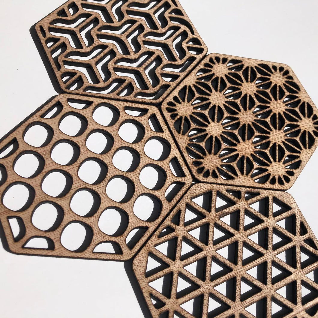 Geometric coasters - mixed hex set - Younique Collective
