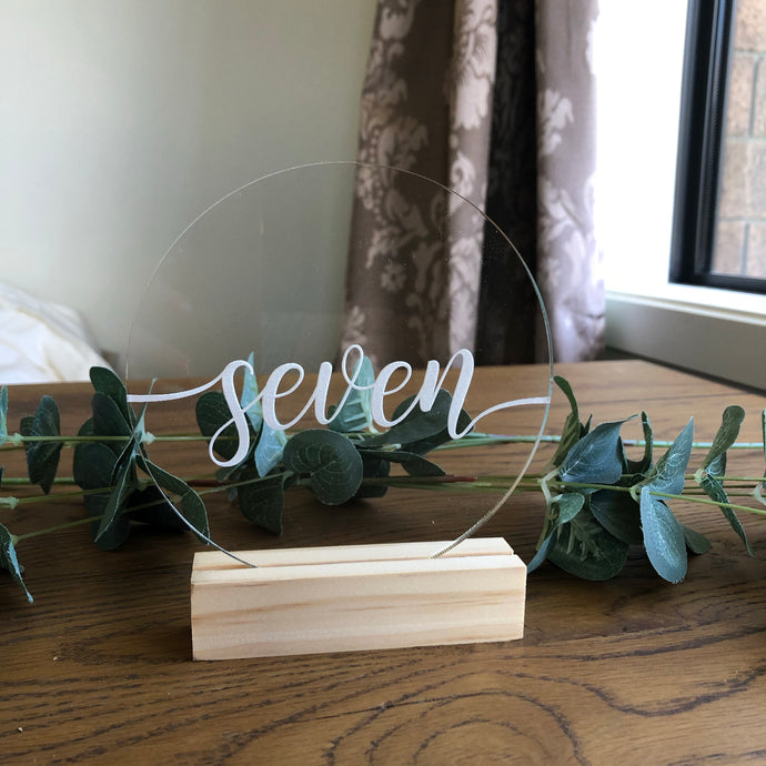 Clear Acrylic Table Number - Round