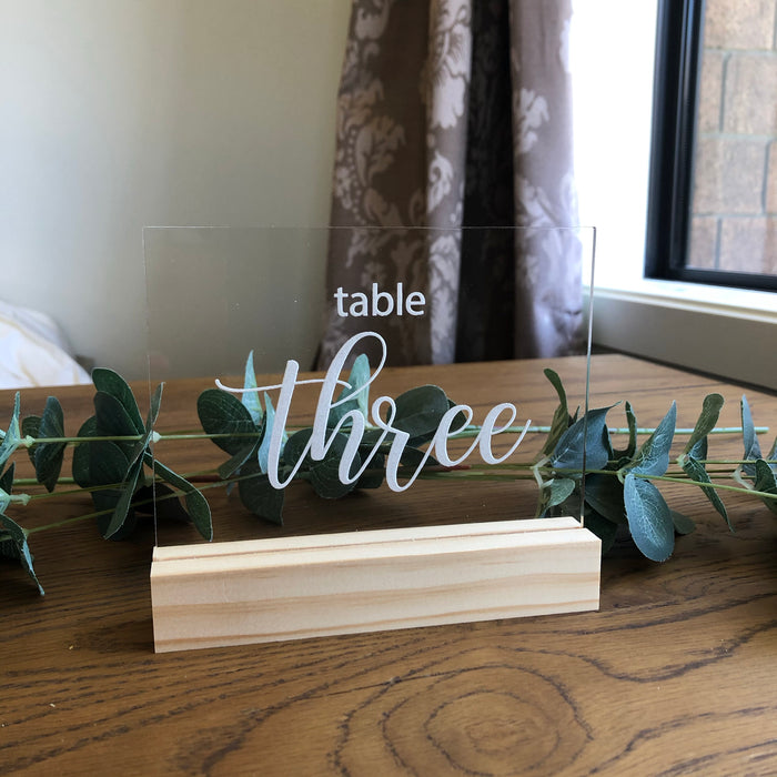 Clear Acrylic Table Number - Rectangle - Younique Collective