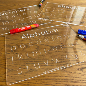 Trace and learn boards set