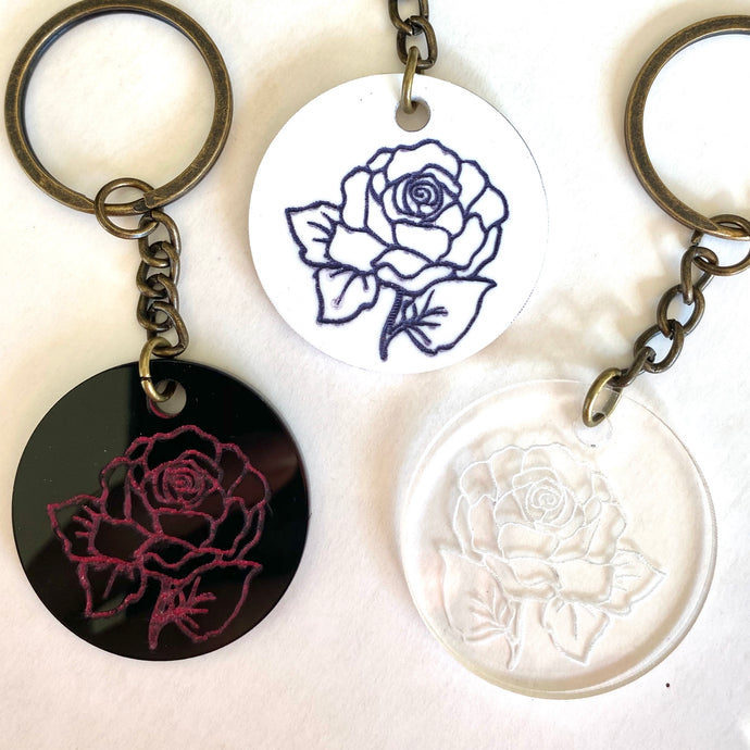 Engraved rose keyrings