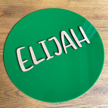 Load image into Gallery viewer, Round name plaque in acrylic 600mm
