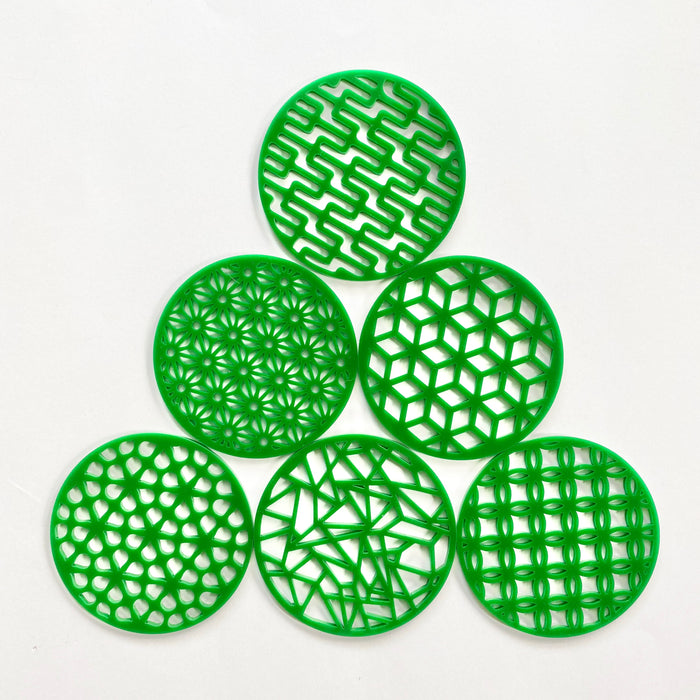Green acrylic coaster set