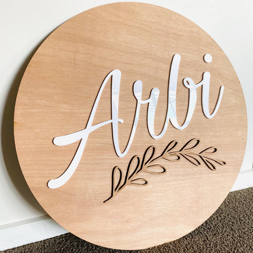 Round name plaque in wood with acrylic 600mm - Younique Collective