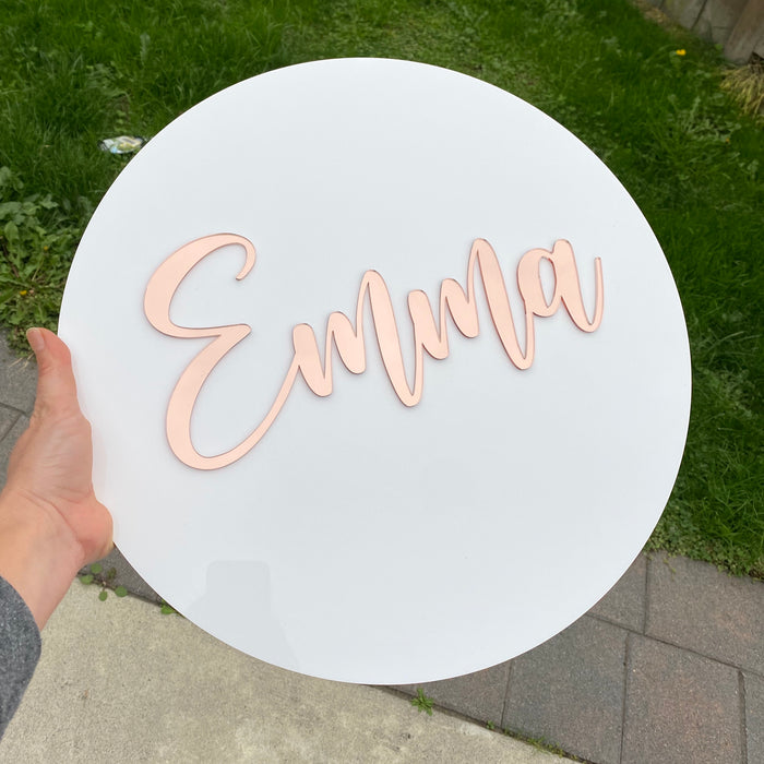 Round name plaque in acrylic 200mm - Younique Collective