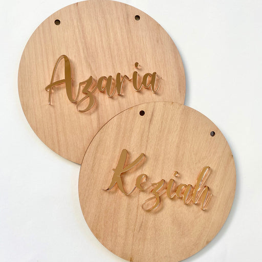 Round name plaque in wood with acrylic 200mm