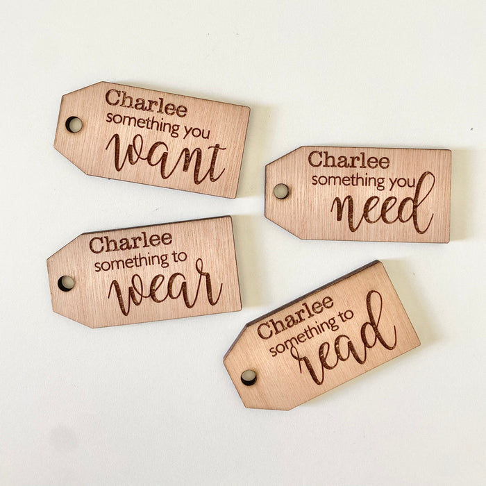 Want, need, wear, read tags- personalised