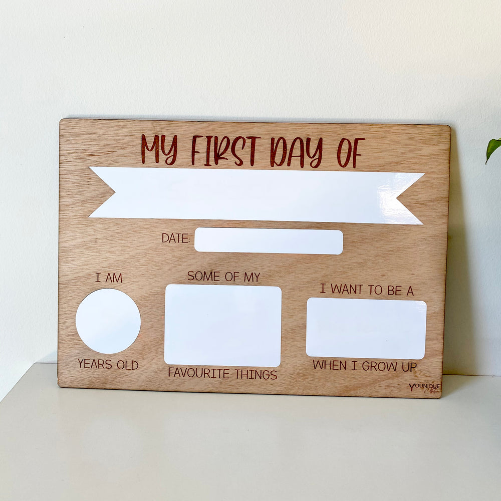 My first day board - ribbon in white