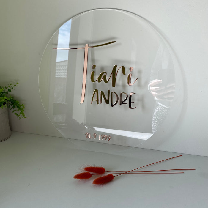 Round name plaque in acrylic 200mm