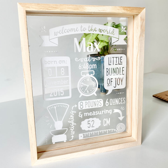 Birth Stats frame - acrylic