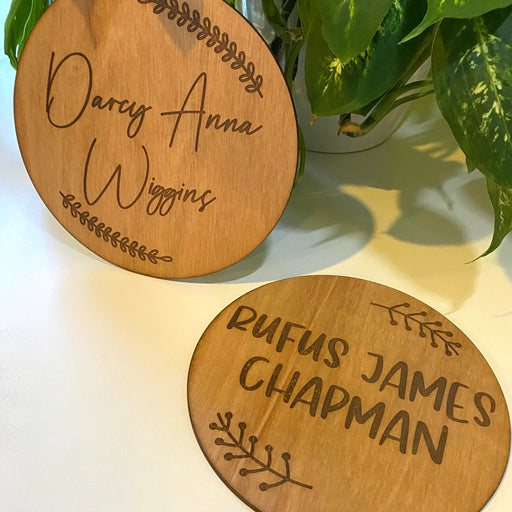 Round name plaques - engraved - Younique Collective