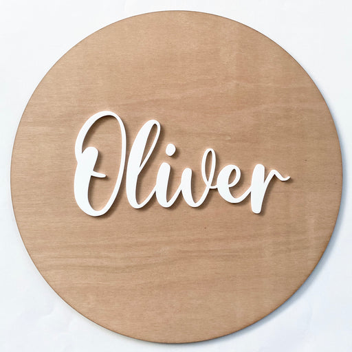 Round name plaque in wood with acrylic 400mm