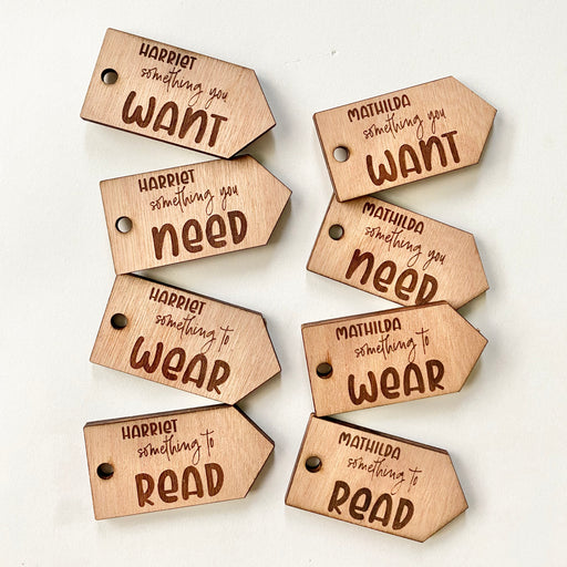 Want, need, wear, read tags - Personalised