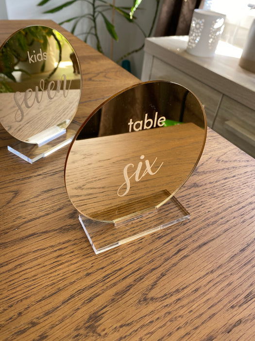 Mirror Acrylic Table Number - Round