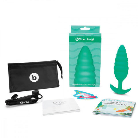B-Vibe Texture Plug Twist Green (Large) with Contents