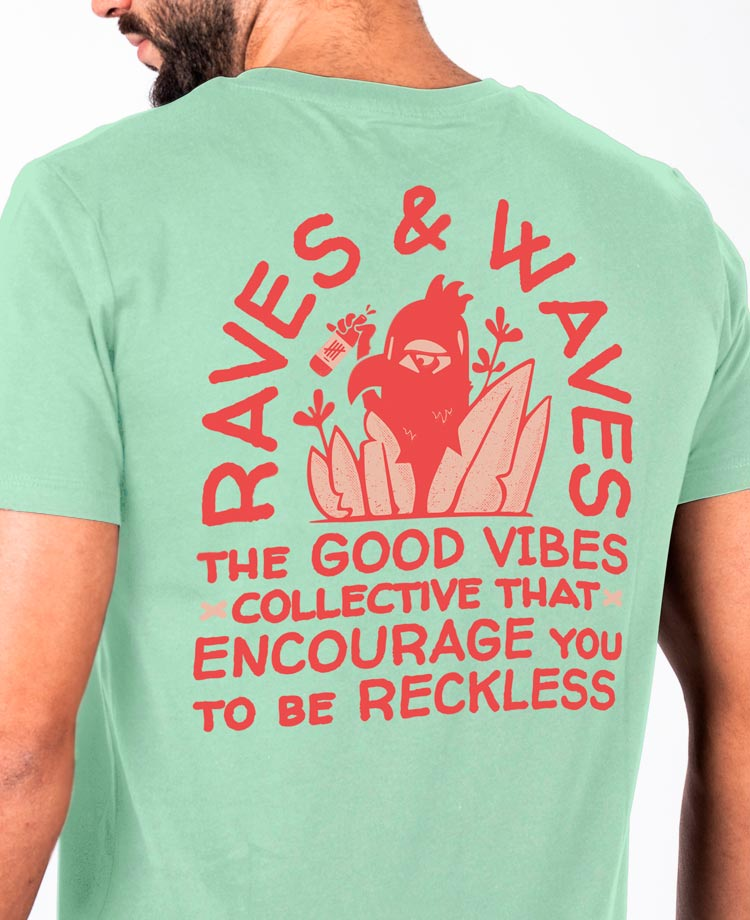 Ending Clothes Raves & Waves tee detail