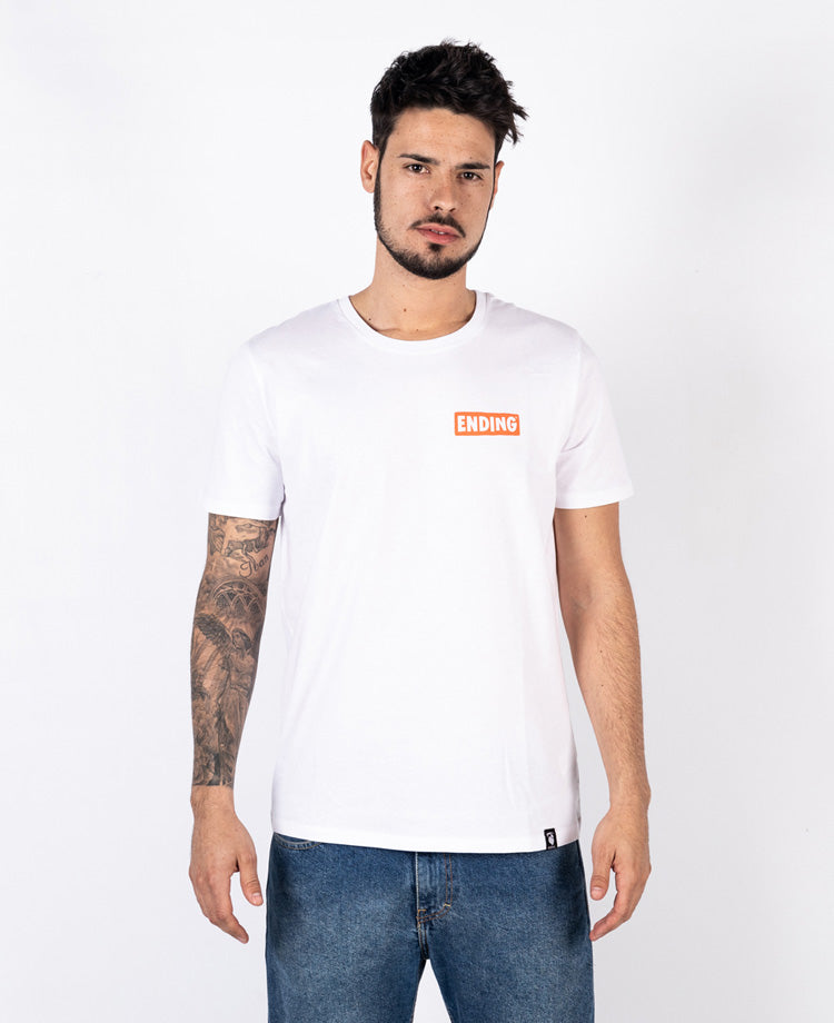 Ending Clothes Rebel Voltage White Organic cotton camiseta algodón algodon orgánico organico blanca front