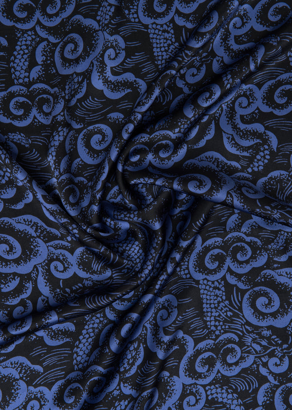 100% SILK SATIN - LONG DAO BLUE