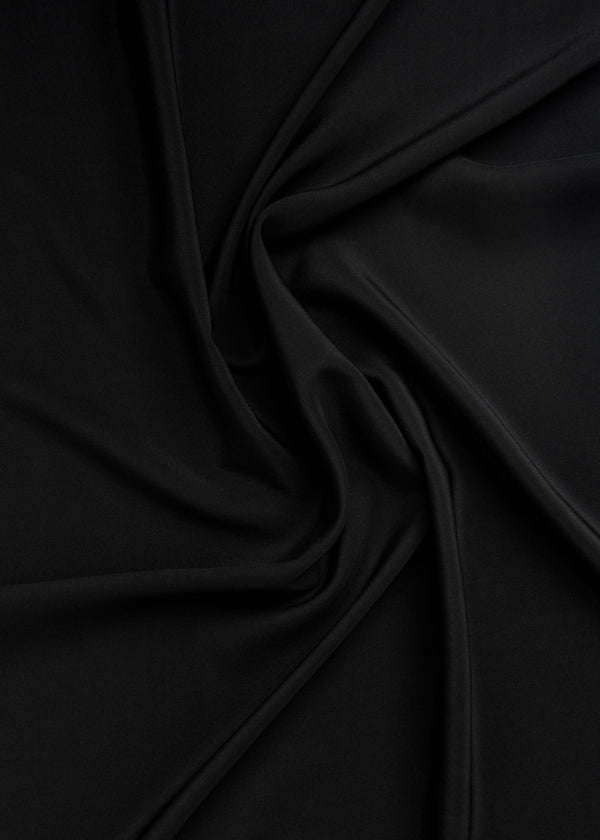 100% SILK CREPE - BLACK DEEP