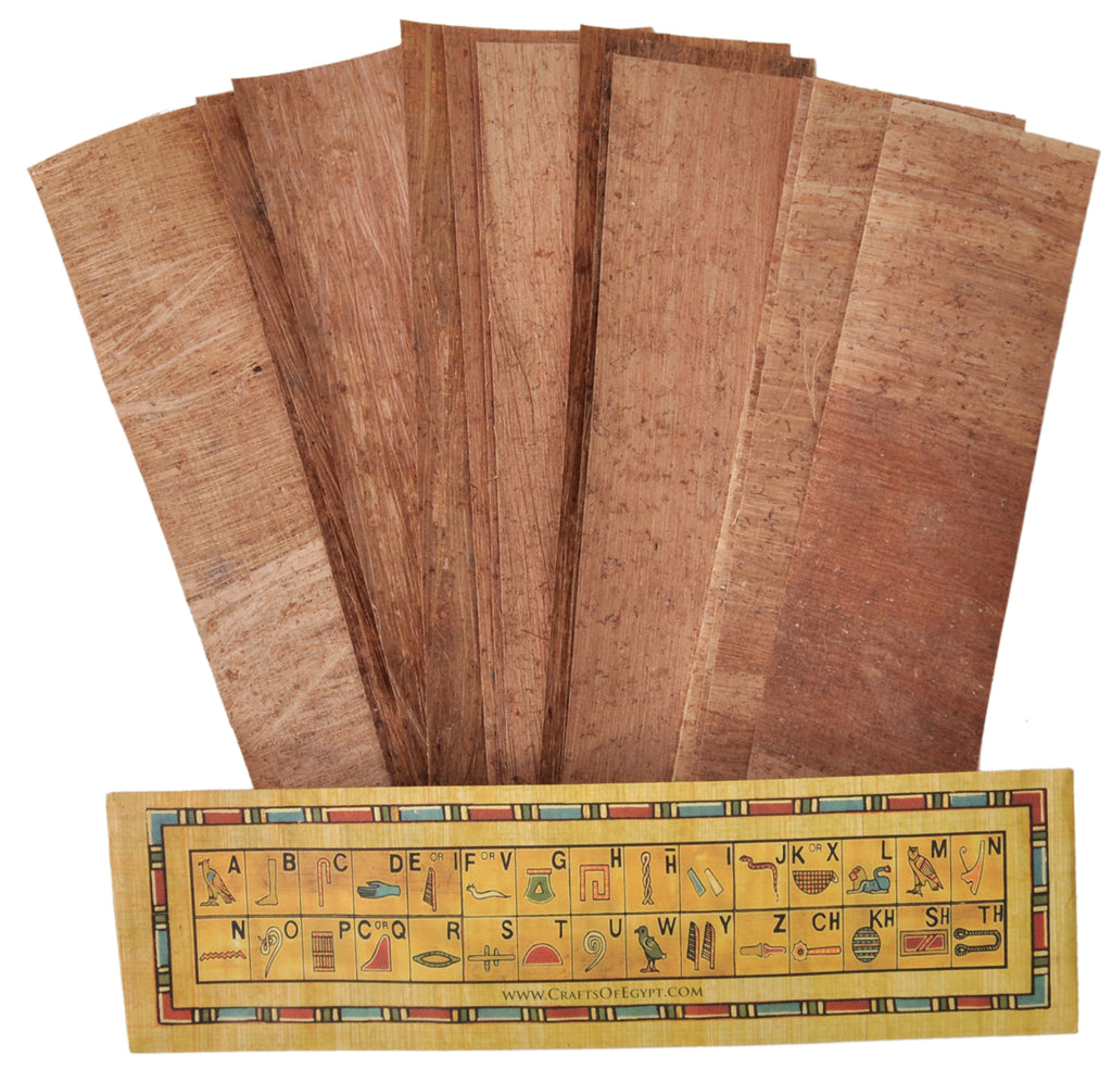 10 Egyptian Papyrus Paper bookmarks 7.2 x2.0 inch (5x18 cm ) - Ancient Papyrus blank book marks Sheets-Papyri for Art Project,  and School History