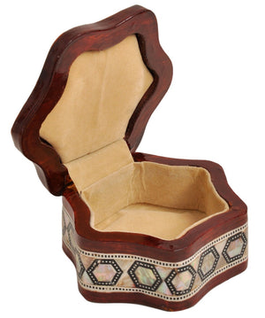 Egyptian Mother of pearl & Paua Shell Inlaid Jewelry trinket decorative Box-Ring Box Curved