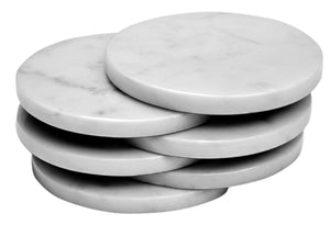 Set of 6 - White Marble Stone Coasters  Polished Coasters 3.5 Inches (9 cm) in Diameter Protection from Drink Rings