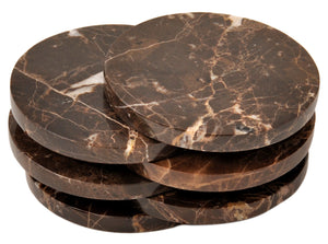 CraftsOfEgypt Set of 6 - Brown Marble Stone Coasters  – Polished Coasters  – 3.5 Inches (9 cm) in Diameter  – Protection from Drink Rings