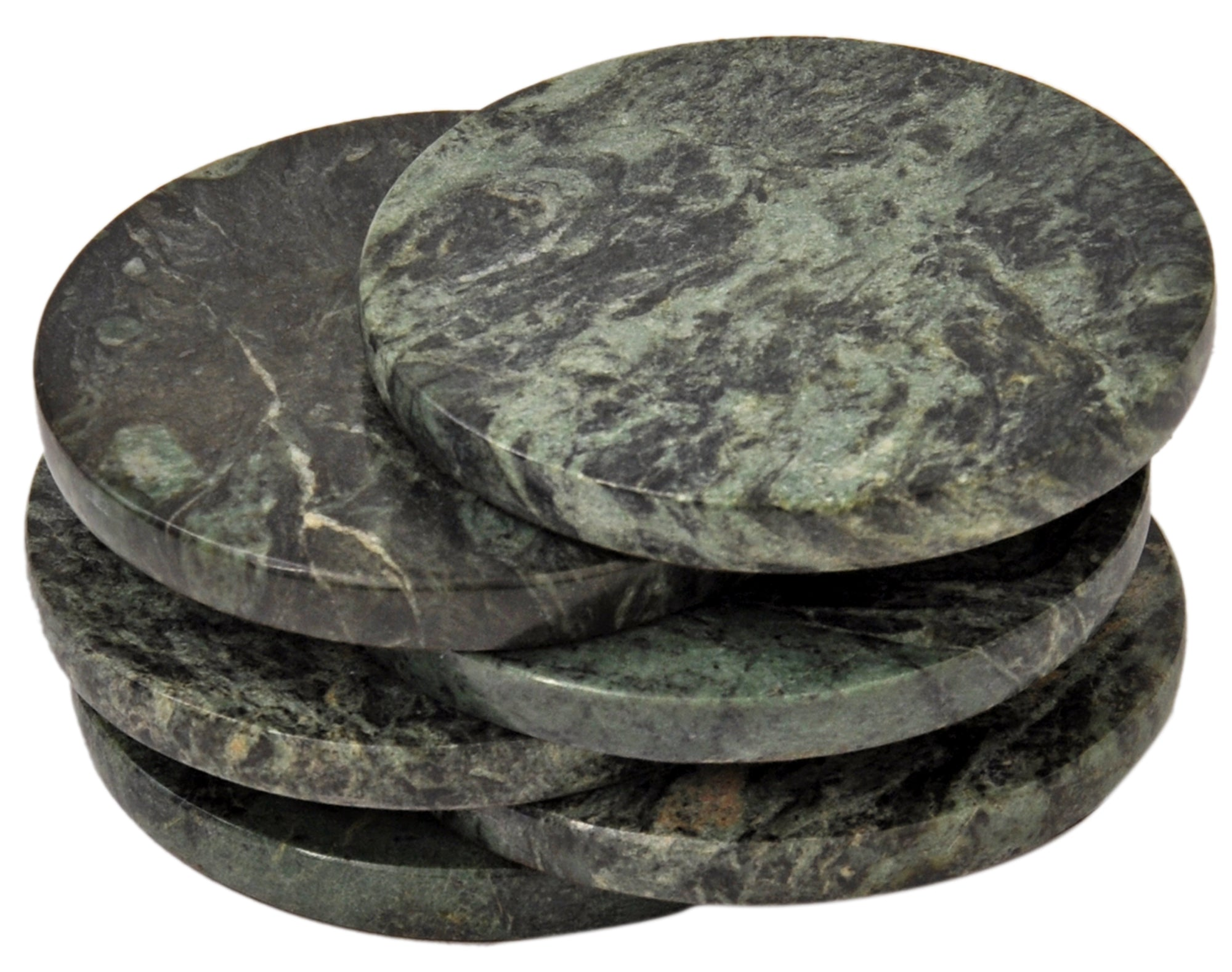 Set of 6 - Green Marble Stone Coasters  – Polished Coasters  – 3.5 Inches ( 9 cm) in Diameter  – Protection from Drink Rings -CraftsOfEgypt