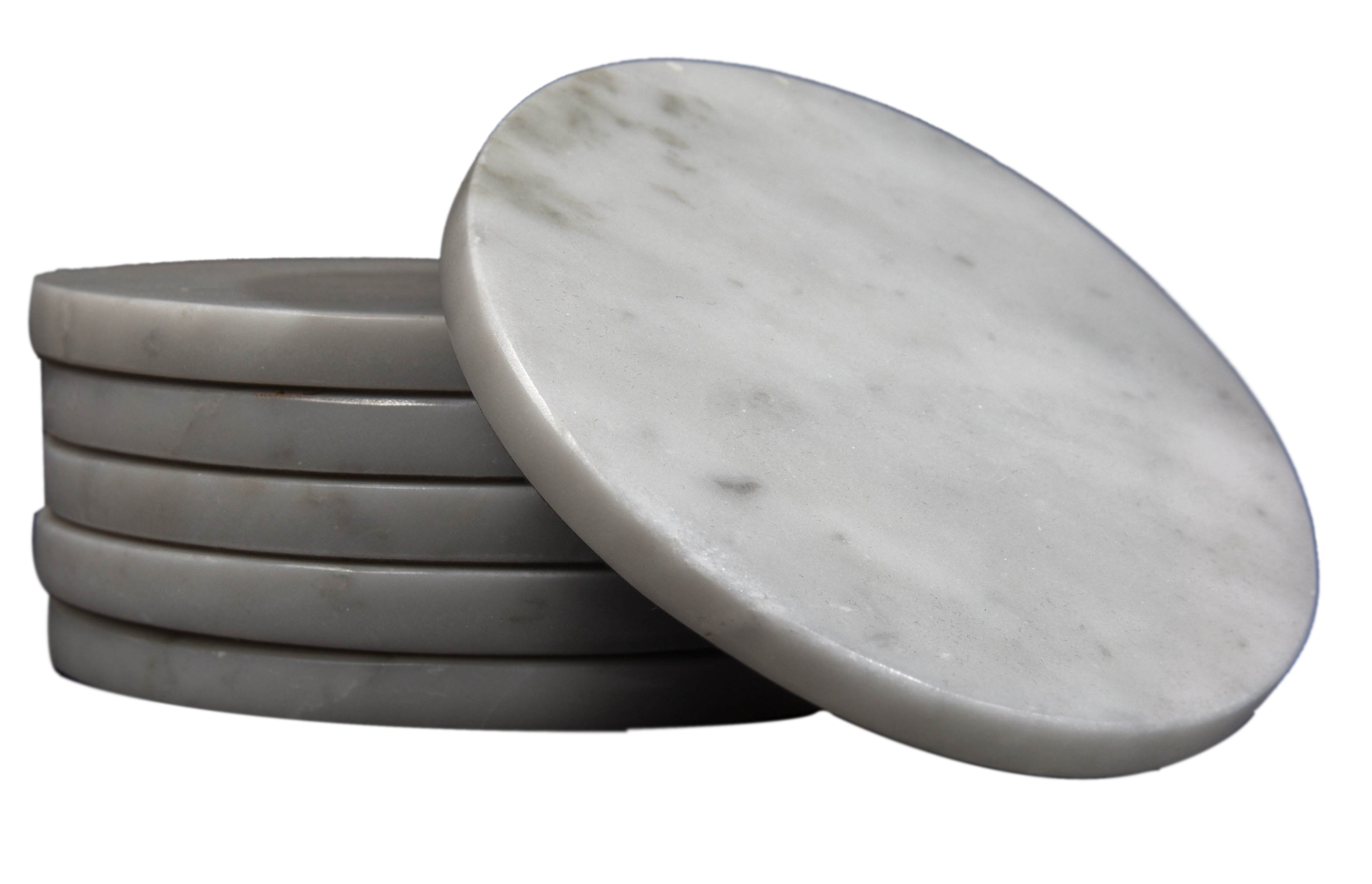 CraftsOfEgypt Set of 6 - Grey Marble Stone Coasters  – Polished Coasters  – 3.5 Inches (9 cm) in Diameter  – Protection from Drink Rings