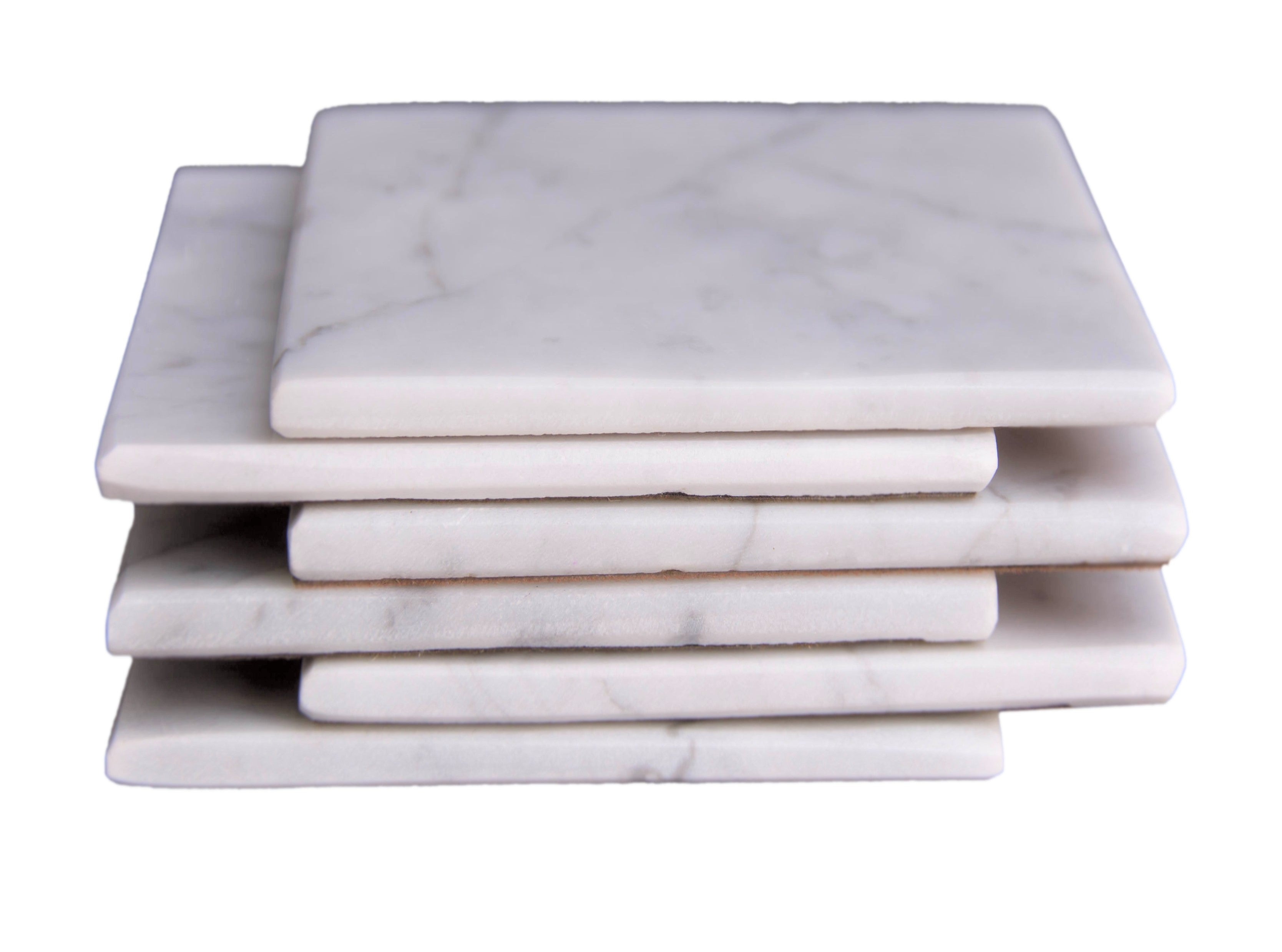 Set of 6 - White Marble Stone Coasters Polished Coasters 3.5 x 3.5 Inches ( 9x9 cm) Square Protection from Drink Rings -CraftsOfEgypt