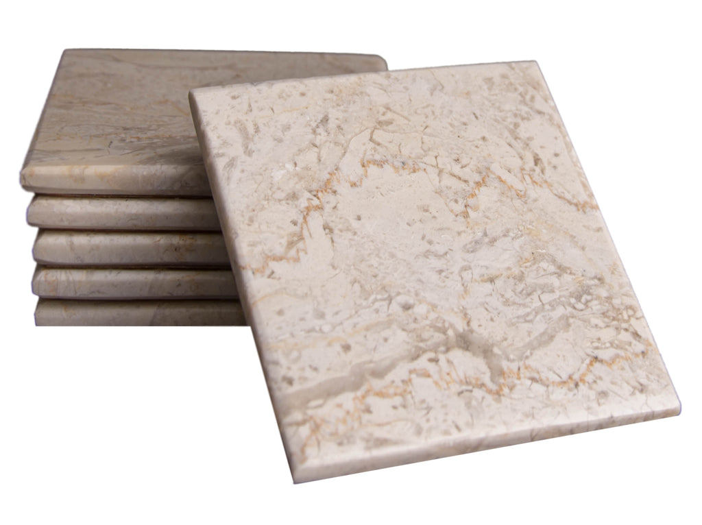 Set of 6 - Beige Marble Stone Coasters Polished Coasters 3.5 x 3.5 Inches ( 9x9 cm) Square Protection from Drink Rings -CraftsOfEgypt
