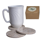 CraftsOfEgypt Set of 6 - Beige Marble Stone Coasters  – Polished Coasters  – 3.5 Inches (9 cm) in Diameter  – Protection from Drink Rings