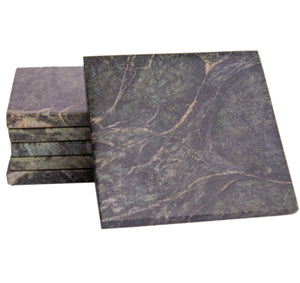 Set of 6 - Green Marble Stone Coasters Polished Coasters 3.5 x 3.5 Inches ( 9x9 cm) Square Protection from Drink Rings -CraftsOfEgypt