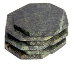 Set of 6 - Green Marble Stone Coasters Polished Coasters 3.5 Inches ( 9 cm) in Diameter Protection from Drink Rings -CraftsOfEgypt
