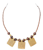 Bohemian Boho Hippie Ethnic African Style Leather Necklace Collar for Women with Wood Beads and 3 Pieces Brass Pendants
