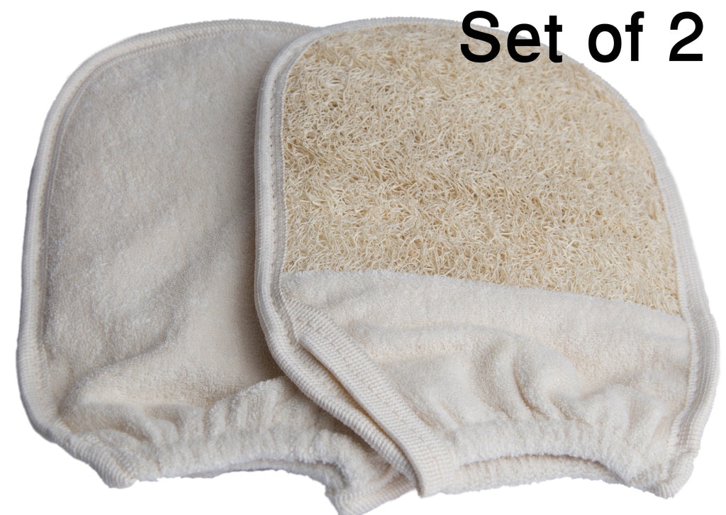 Exfoliating Loofah Glove / Pad - 2 Pack 100% Natural SPA Beauty - Egyptian Organic Bath Sponge Body Scrubber - Premium Quality Lofa Loofa Luffa