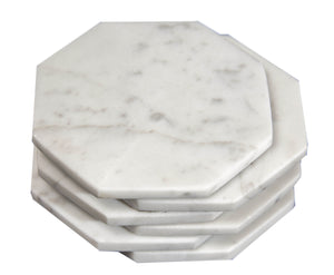 Set of 6 - White Marble Stone Coasters Polished Coasters 3.5 Inches ( 9 cm) in Diameter Protection from Drink Rings -CraftsOfEgypt