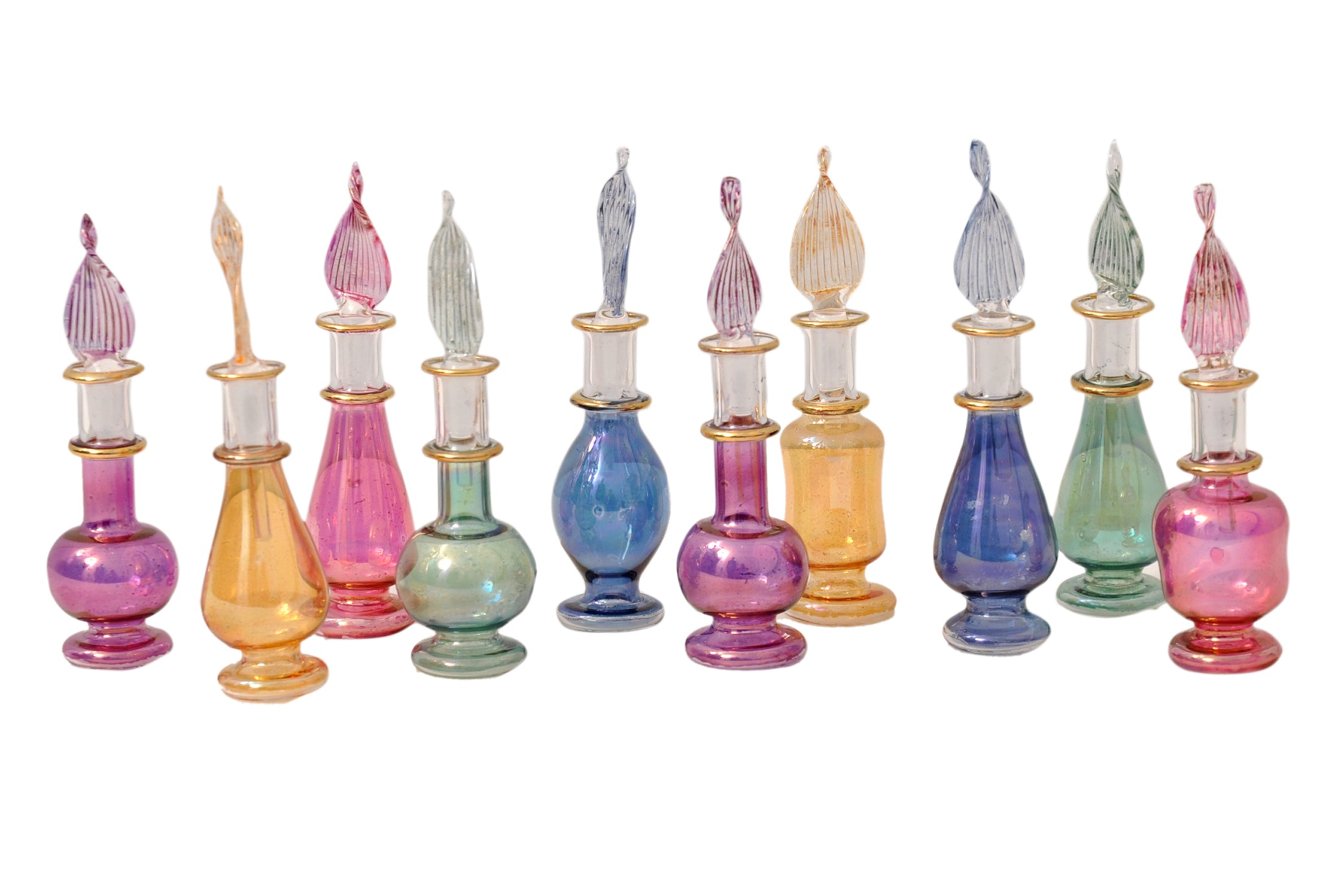 Egyptian perfume bottles Set of 10 hand Blown Decorative Pyrex Glass Vials Height 2 Inch (5 cm) by CraftsOfEgypt