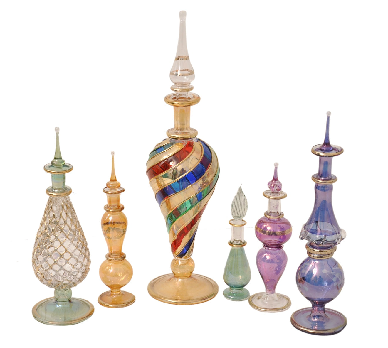 Genie Blown Glass Potion potions decorative miniature decorative Egyptian Perfume bottles Mix set of 6pc by CraftsOfEgypt