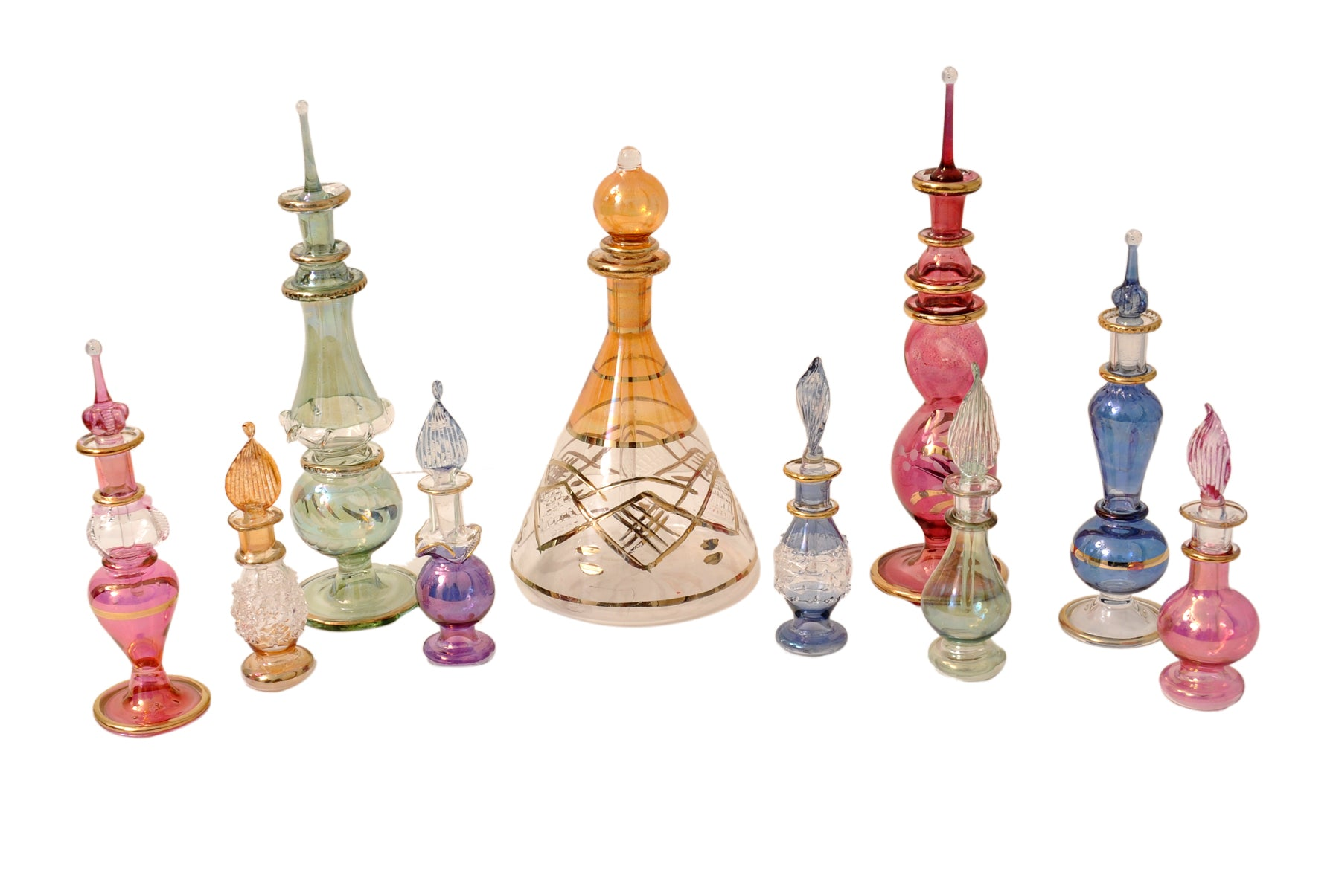 Egyptian perfume bottles Mix Collection a Set of 10 hand Blown Decorative Pyrex Glass Vials by CraftsOfEgypt