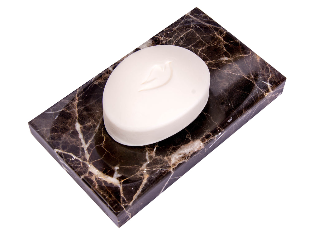 Brown Marble Soap Dish - Polished and Shiny Marble Dish Holder Beautifully Crafted Bathroom Accessory by CraftsOfEgypt