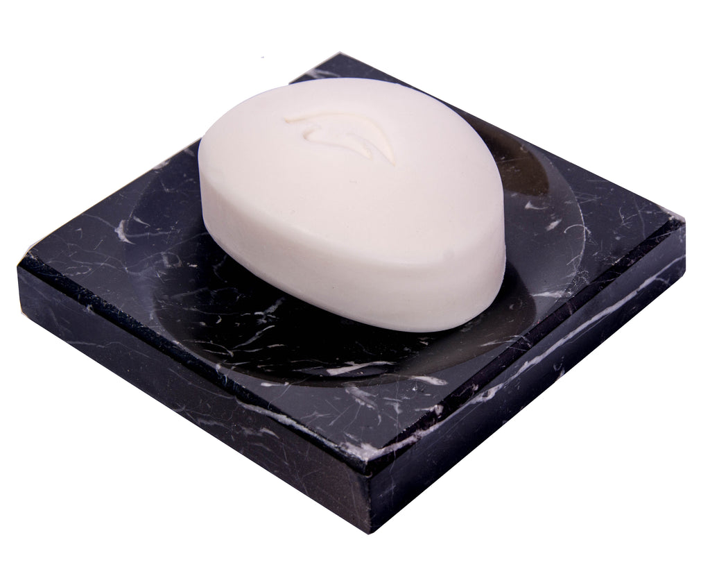 Black Marble Soap Dish - Polished and Shiny Marble Dish Holder – Beautifully Crafted Bathroom Accessory