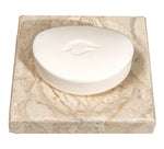 Beige Marble Soap Dish - Polished and Shiny Marble Dish Holder – Beautifully Crafted Bathroom Accessory