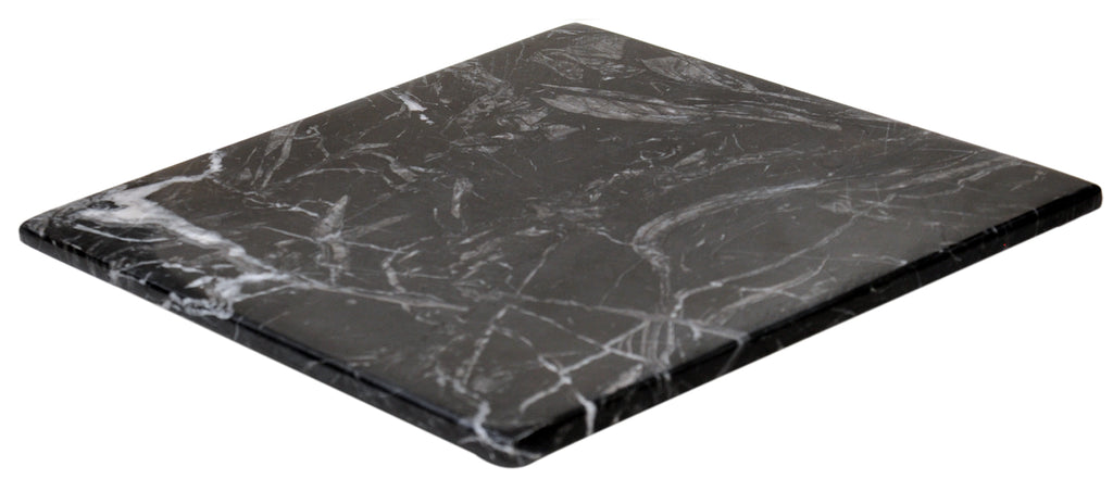 Black Marble Cheese Board - Works as a Small cutting board - Premium Trivet/Small pot holder - Effective Shushi serving platter Size 7x7 in(18x18cm)