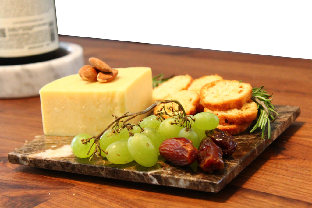 Brown Marble Cheese Board - Works as a Small cutting board - Premium Trivet/Small pot holder - Effective Shushi serving platter Size 7x7 in(18x18cm)