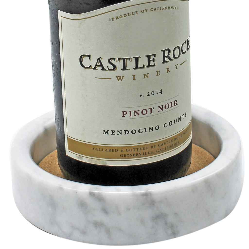 White Wine Bottle Coaster / Holder Made from Elegant Marble with an Absorbent Cork Perfect for All Drinks and any Occasion  By CraftOfEgypt